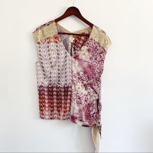 Anthropologie Tiny Printed Side Tie Blouse Small